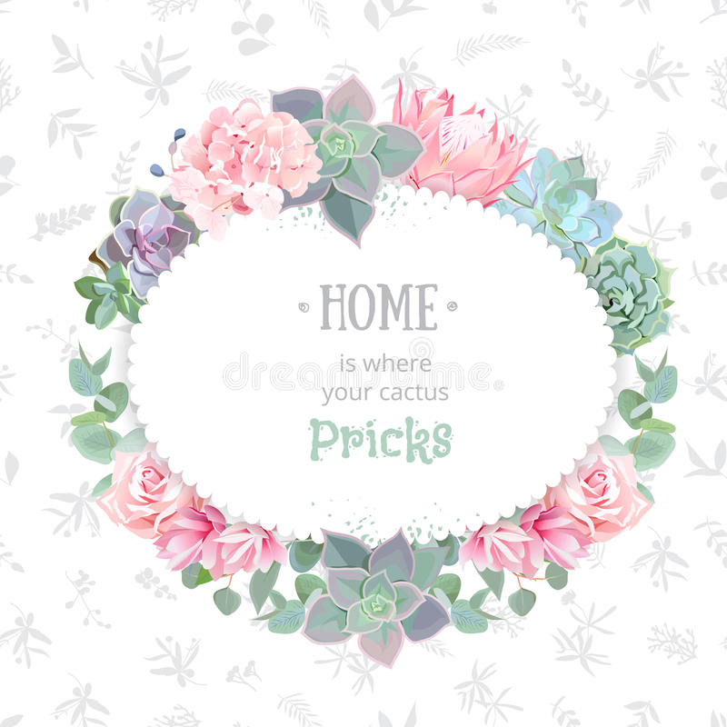 Oval succulents vector design frame. Echeveria, protea, eucaliptus, rose, hydrangea. Natural cactus card in modern funky style. Delicate floral texture stock illustration