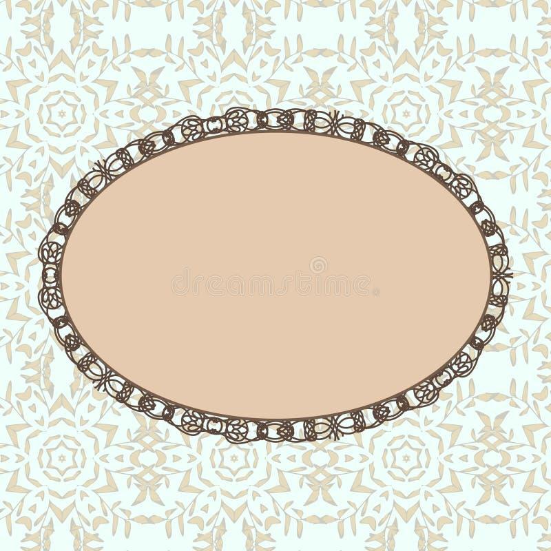 Oval tappningstilram royaltyfri illustrationer