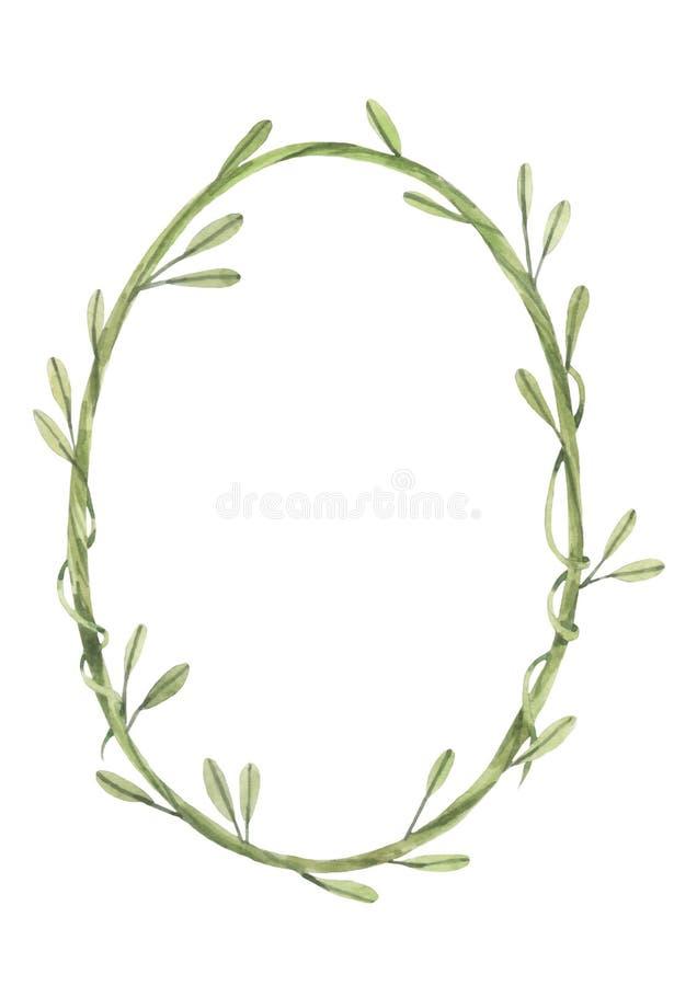 Oval vine frame royalty free illustration