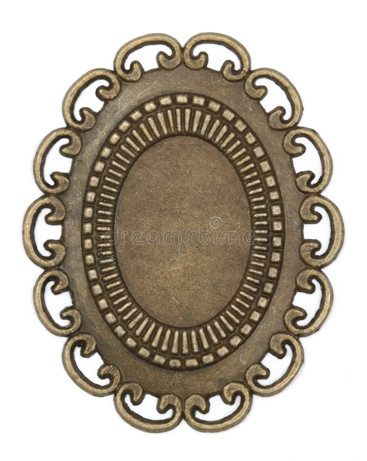 Download Oval vintage brass frame stock photo. Image of used, brass - 5255936