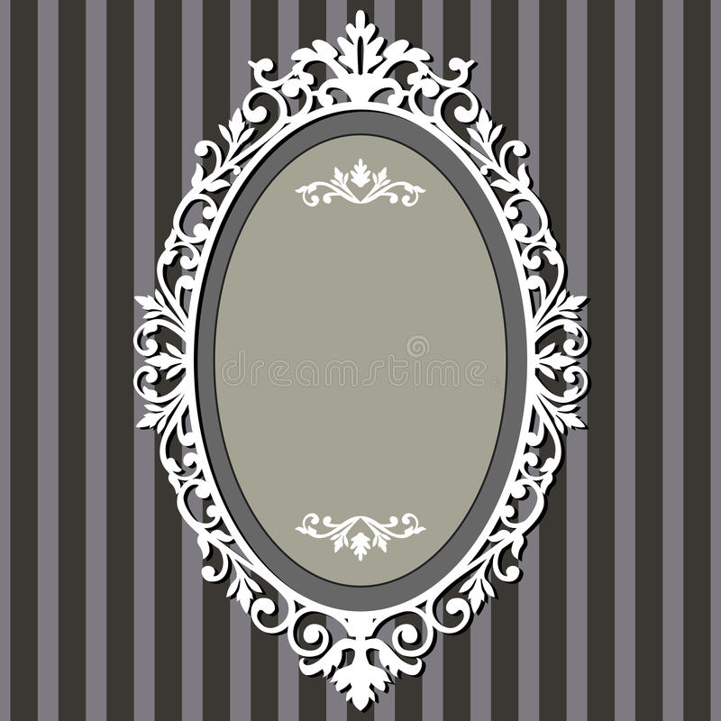 Oval vintage frame. Decorative oval frame on stripe grey background with space for your text vector illustration