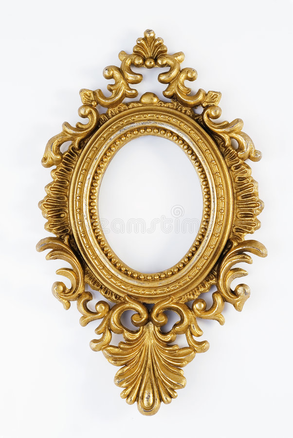 Oval Vintage Gold Ornate Frame Stock Photo - Image of gallery ...