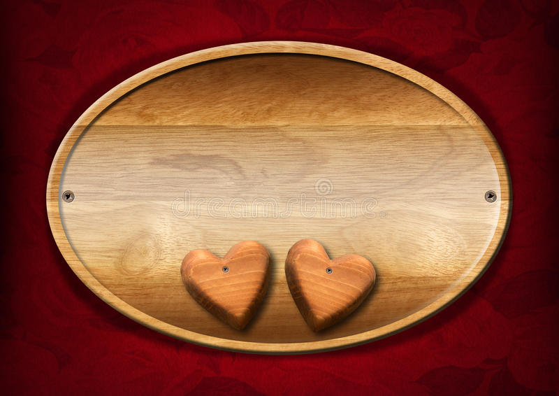 Oval Wood Board with Two Hearts