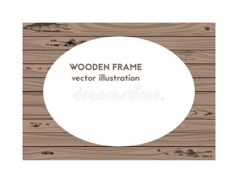 Oval wooden frame. Vector illustration. The texture of the oak stock illustration