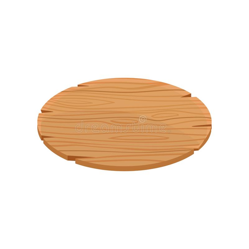Oval wooden signboard with place for your message. Organic material, natural texture. Blank wood panel with cracks. Flat. Oval wooden signboard with place for royalty free illustration