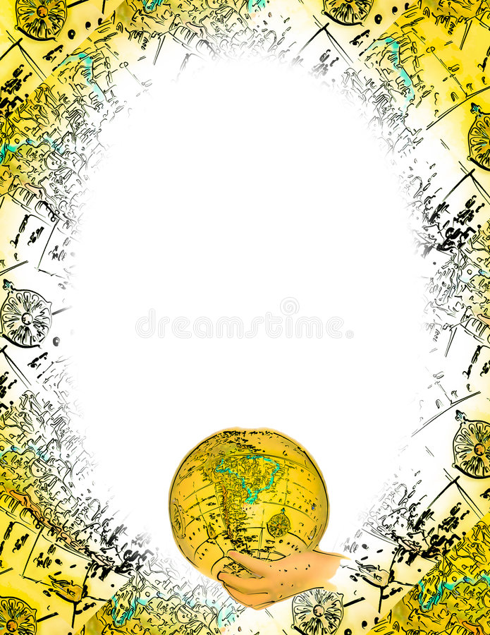 Oval World Frame stock illustration