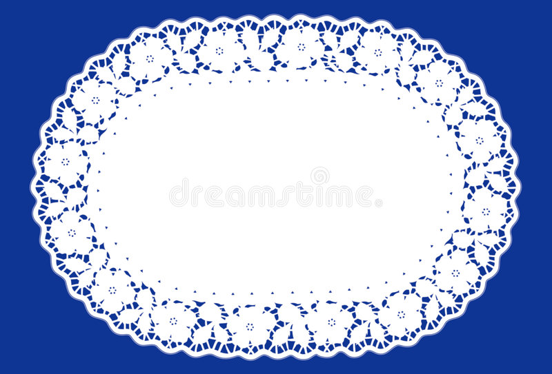 Ovale blauw Doily van het Kant, (jpg+eps) royalty-vrije illustratie