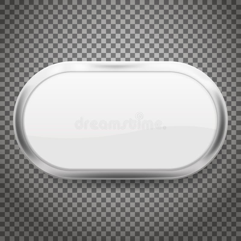 Ovale die knopen met chroomkader op transparante achtergrond wordt geïsoleerd Vector illustratie stock illustratie
