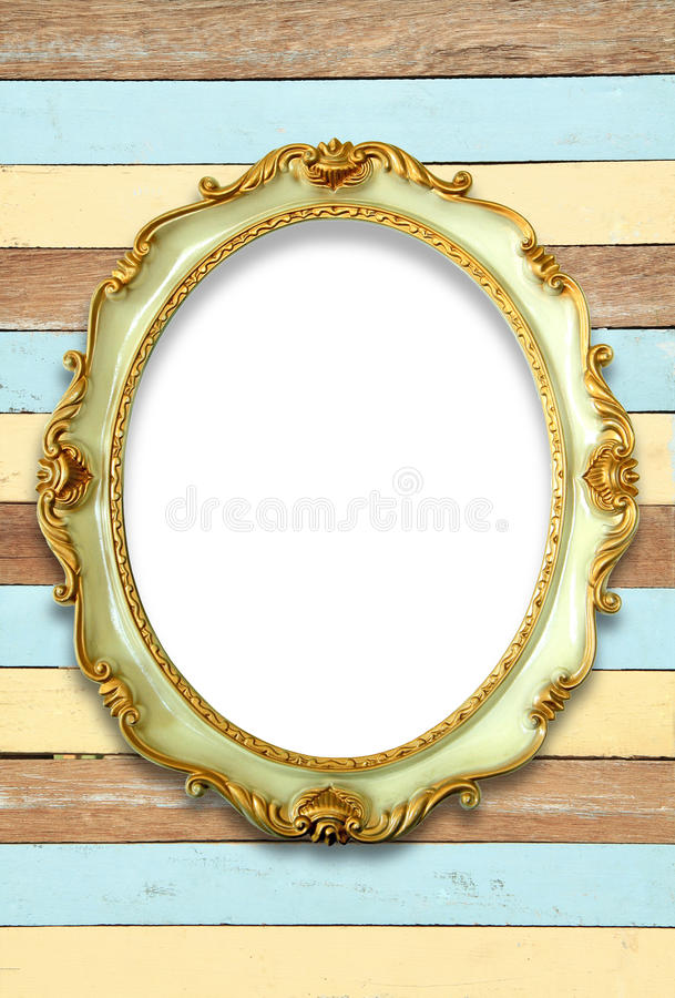 Ovale gouden kleurenomlijsting stock fotografie