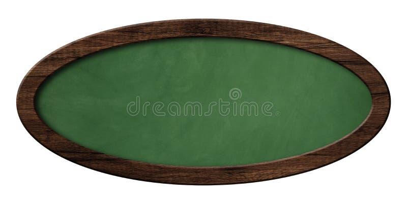 Ovale grüne Tafel mit dunklem Holzrahmen lizenzfreie abbildung