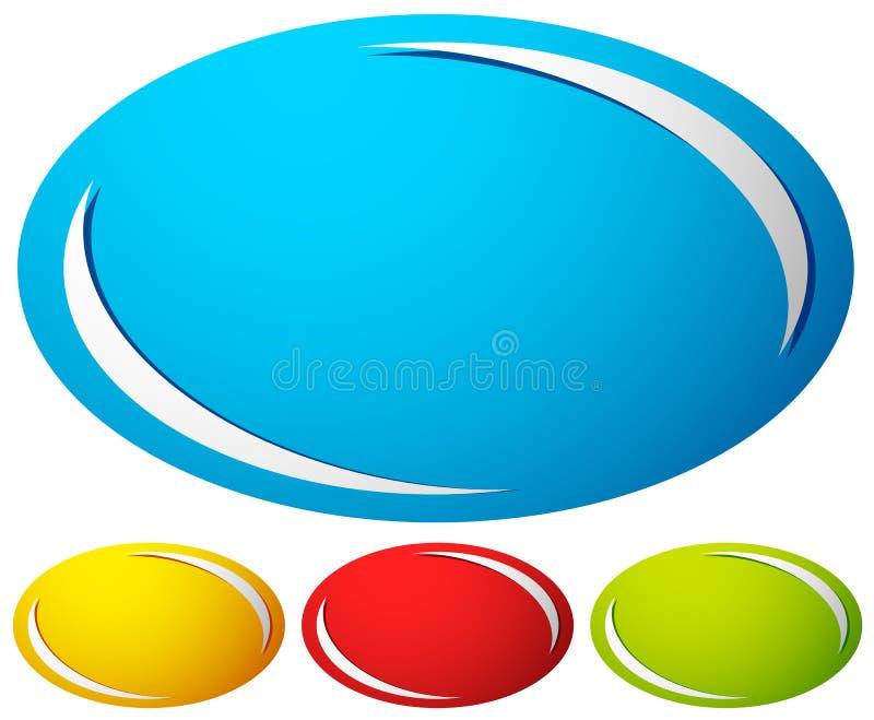Ovale, insigne d'ellipse, fond de bouton Ensemble de 4 couleurs générique illustration de vecteur