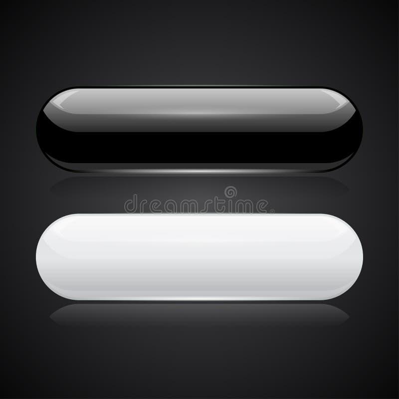 Ovale Schwarzweiss-Knöpfe glatte Ikonen 3d auf schwarzem Hintergrund lizenzfreie abbildung