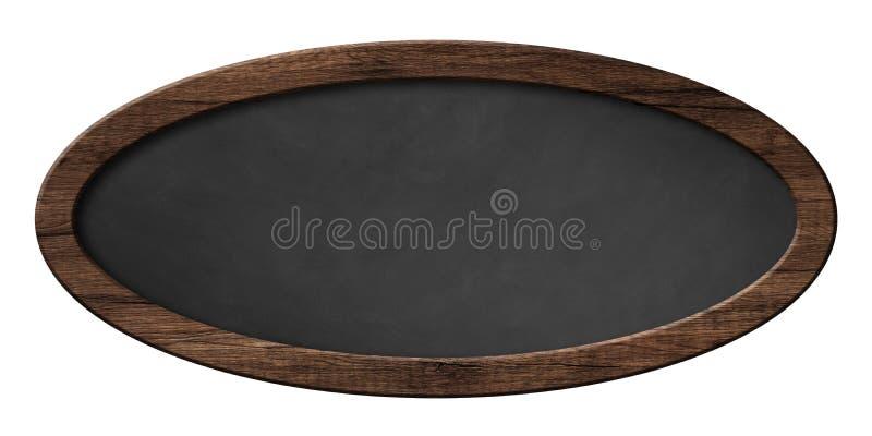 Ovale Tafel mit dunklem Holzrahmen stock abbildung