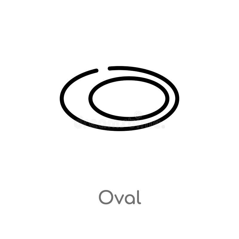 ovale Vektorikone des Entwurfs lokalisiertes schwarzes einfaches Linienelementillustration von der geometrischen Zahl Konzept Edi stock abbildung