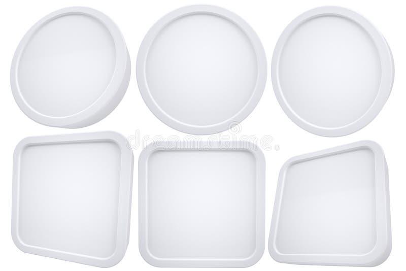 Ovalen och kvadrerar vit inramar stock illustrationer