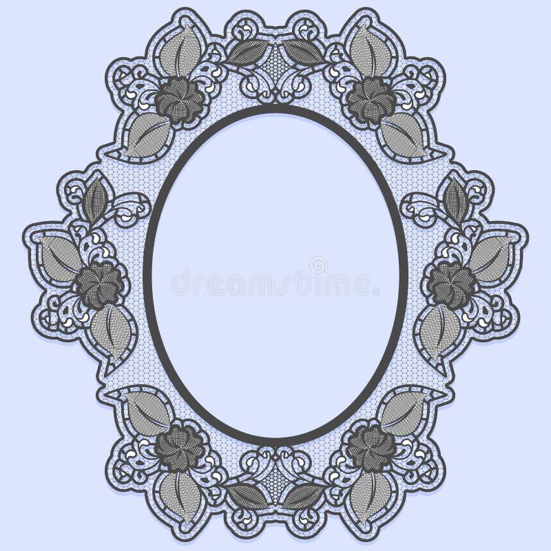 Ovalen snör åt ramen på blå bakgrund Svart som är openwork med blommor vektor illustrationer