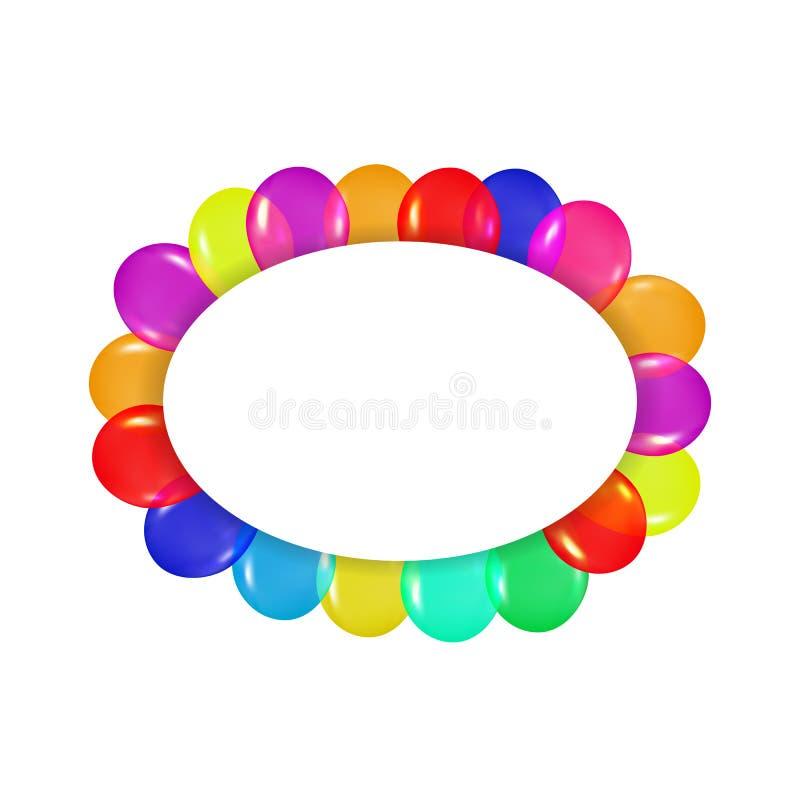 Ovaler Rahmen von bunten Ballonen im Stil des Realismus zu Karten entwerfen, Geburtstage, Hochzeiten, Fiesta, Feiertage, Einladun lizenzfreie abbildung