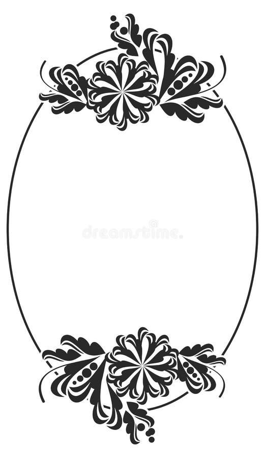 Ovaler Schwarzweiss-Rahmen Mit Blumen Stock Abbildung - Illustration ...