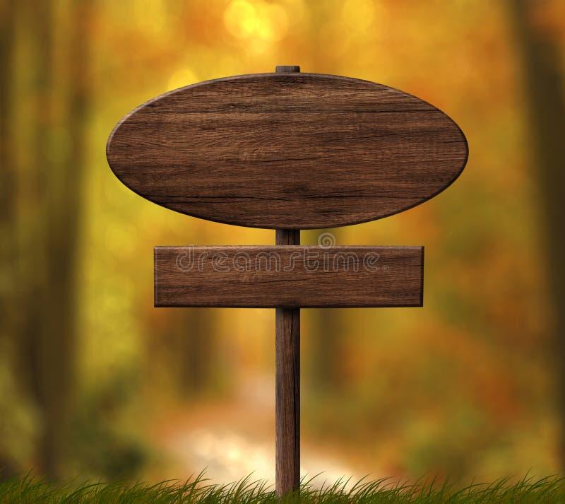 Ovales dunkles hölzernes Schild mit Herbstwaldhintergrund lizenzfreie abbildung