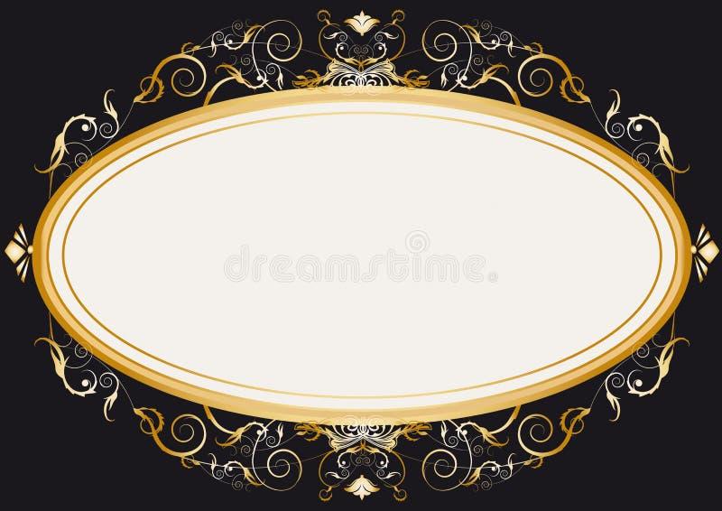 Ovales GoldRetro- Rahmen stock abbildung