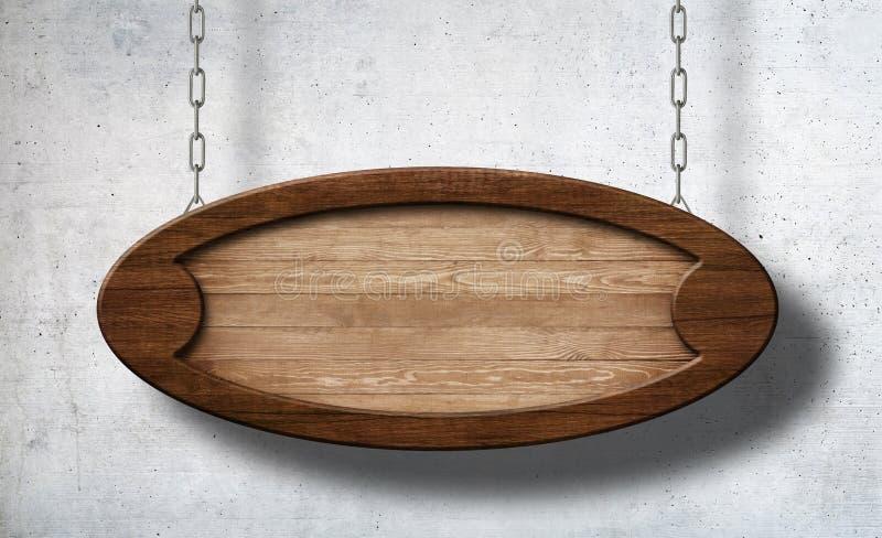 Ovales Holzschild, das an den Ketten mit Betonmauerhintergrund hängt lizenzfreies stockbild