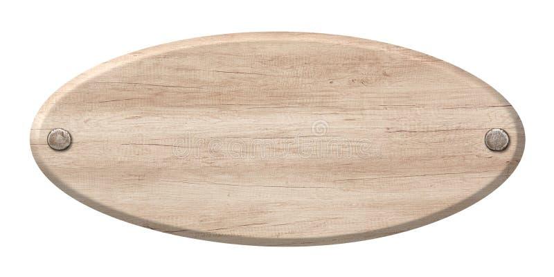 Ovales Holzschild gemacht vom hellen Holz und mit Nägeln befestigt stockfotos