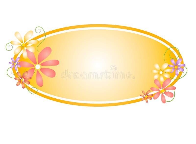 Ovales Webseiten-mit Blumenzeichen 2 lizenzfreie abbildung