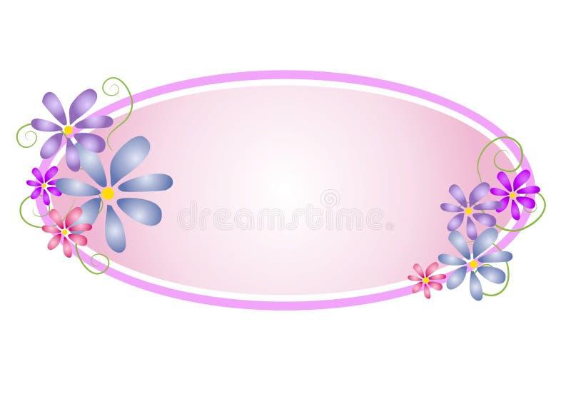 Ovales Webseiten-mit Blumenzeichen lizenzfreie abbildung