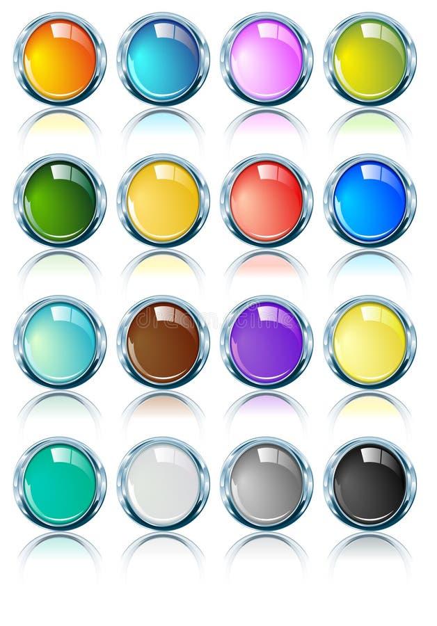 Ovals brilhantes lustrosos do cromo em várias cores ilustração do vetor