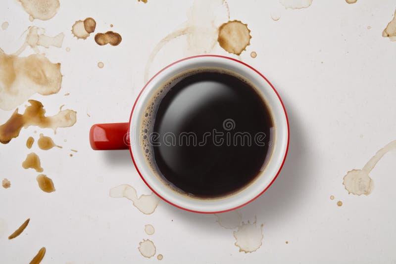 ovanför den sköt kaffekoppen arkivfoton