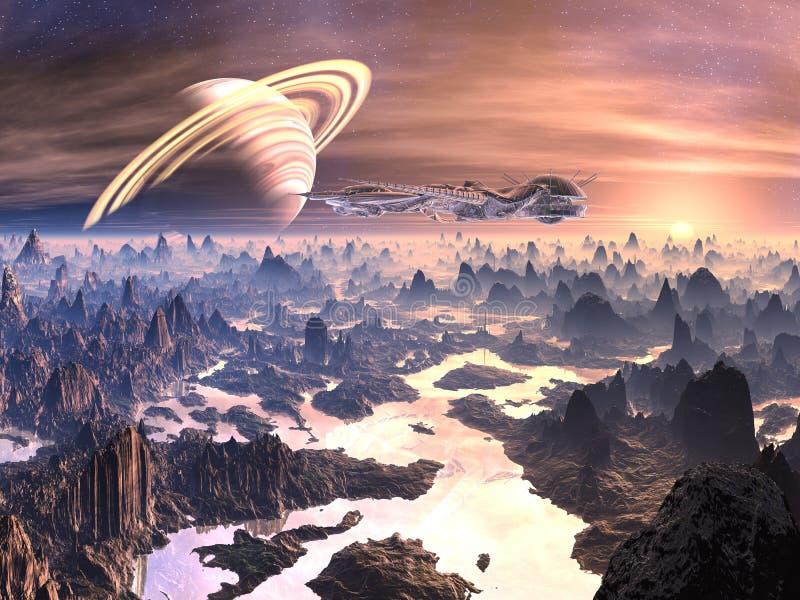 ovanför främmande fientlig rymdskeppterrain royaltyfri illustrationer