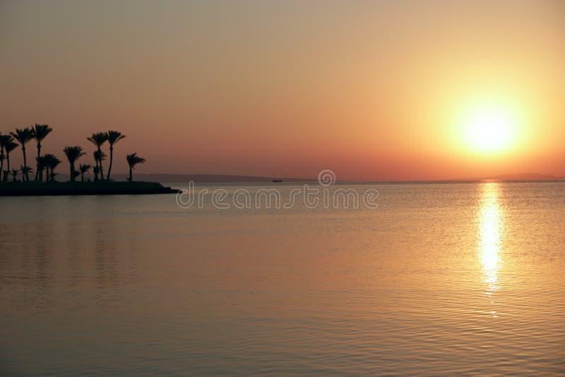 ovanför havssolnedgång Härlig sommarnedgång ovanför havet royaltyfri foto