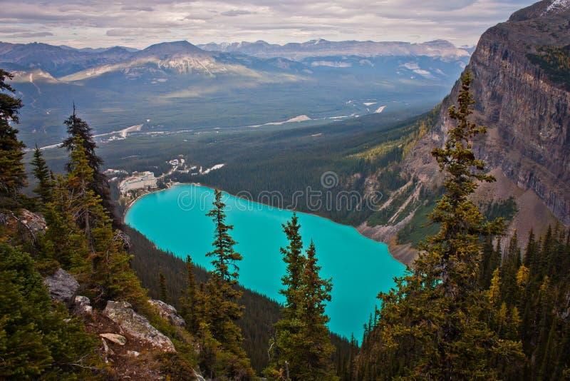 Ovanför Laket Louise Kanada arkivfoton