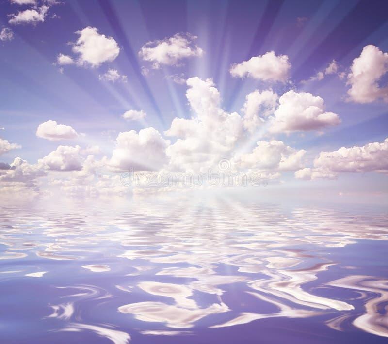 ovanför ljust skyvatten arkivfoto