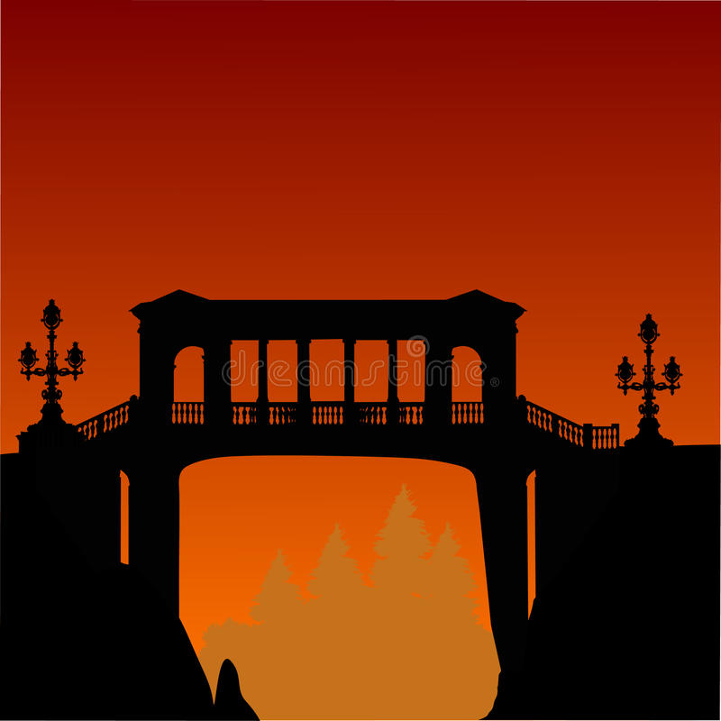 ovanför orange klippbrants- solnedgång för bro stock illustrationer