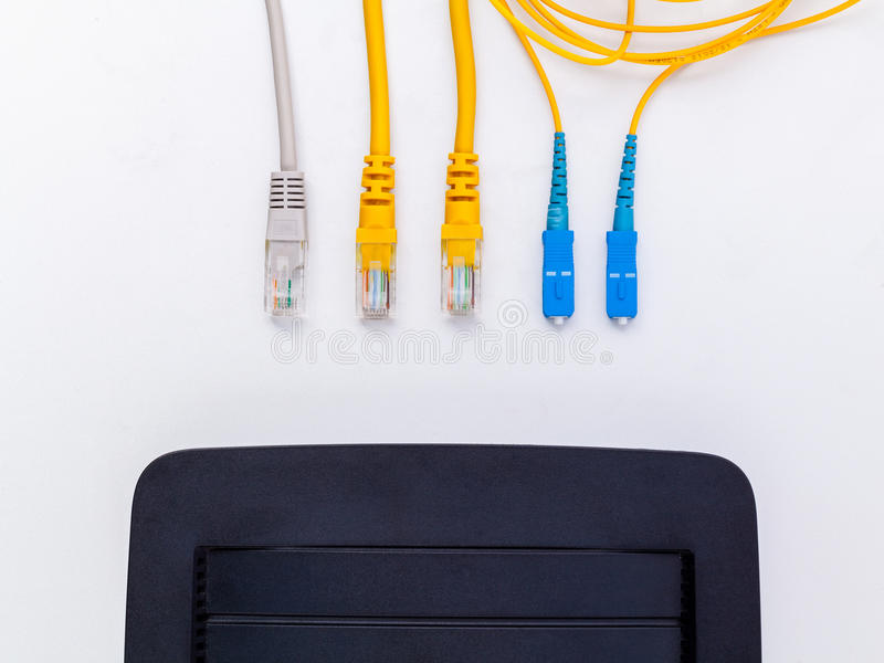 Ovanför sikt av det optiska kontaktdonet för fiber arkivfoton