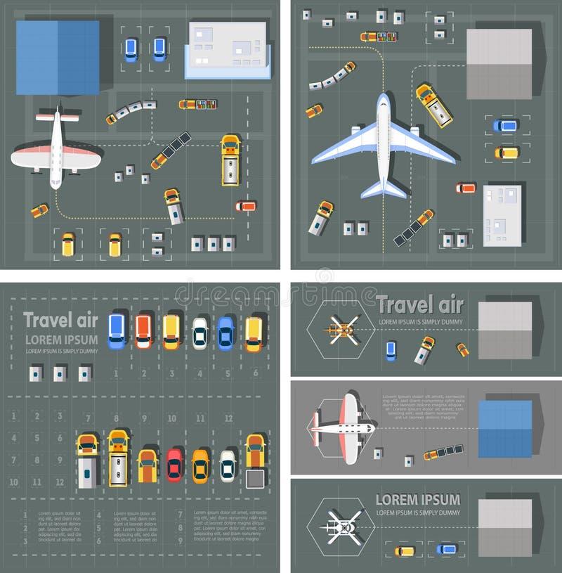 ovanför sikt för terminal för väg för perspektiv för flygplatsutbytespassagerare stock illustrationer