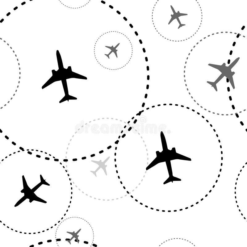 ovanför vingen för lopp för luftboeing oklarheter Prickiga linjer är flygbanor av för passagerarestrålen för det kommersiella fly royaltyfri illustrationer