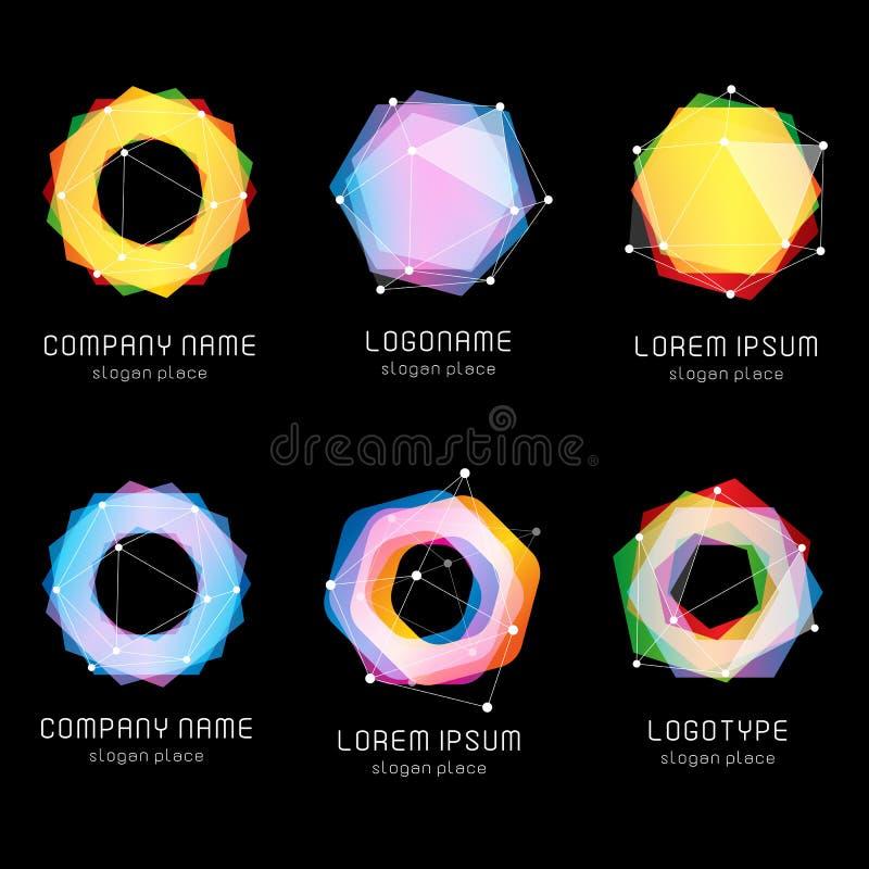 Ovanlig abstrakt geometrisk uppsättning för formvektorlogo Cirkulär polygonal färgrik logotypsamling på svarten stock illustrationer
