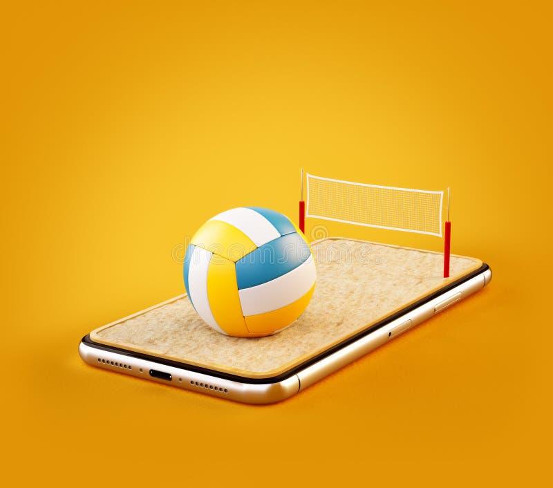 Ovanlig illustration 3d av en volleybollboll och på domstolen på en smartphoneskärm vektor illustrationer