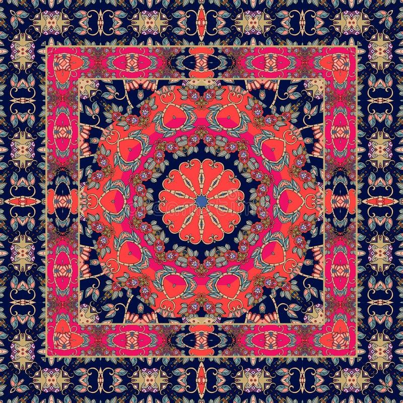Ovanlig matta med den dekorativa gränsen tablecloth sjal Bandana royaltyfri illustrationer