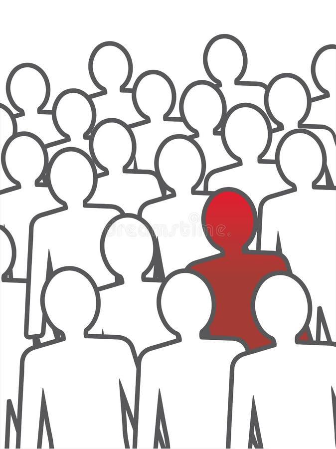 Ovanlig person i folkmassan. stock illustrationer