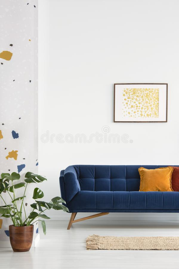 Ovannämnd blå soffa för affisch med kuddar i den vita lägenhetinre med växten och filten Verkligt foto royaltyfri foto