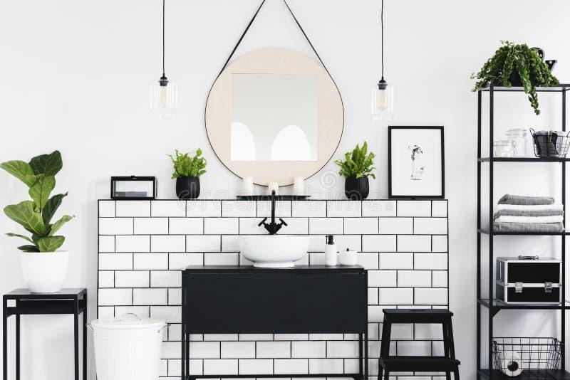 Ovannämnd svart handfat för spegel och för affisch i badruminre med växter och lampor Verkligt foto arkivbilder