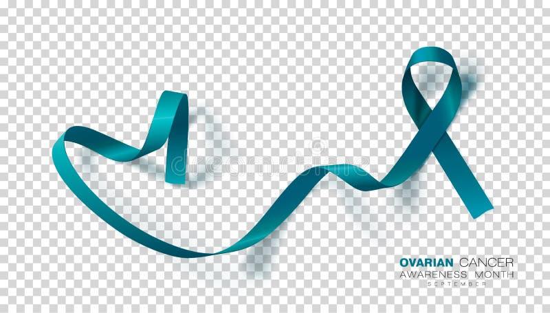 Ovarian Cancer Awareness Month. Teal Color Ribbon  On Transparent Background. Vector Design Template For Poster. Illustration stock illustration