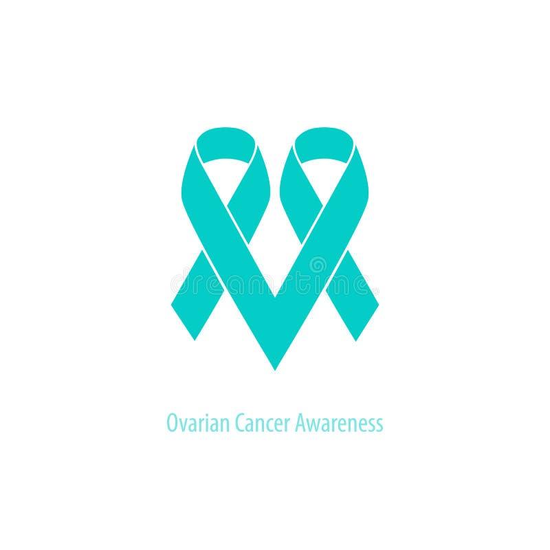 Ovarian Cancer Heart Symbol Teal Ribbon Flat Shape Stock