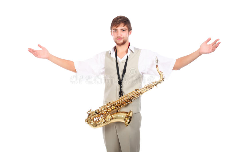 Ovation. Portrait of a man playing the saxophone stock photos