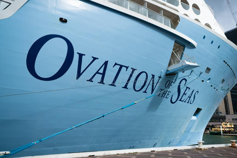 Ovation of the seas cruise ship name close-up view. 23th December 2018, Sydney NSW Australia: Ovation of the seas cruise ship name close-up view stock image