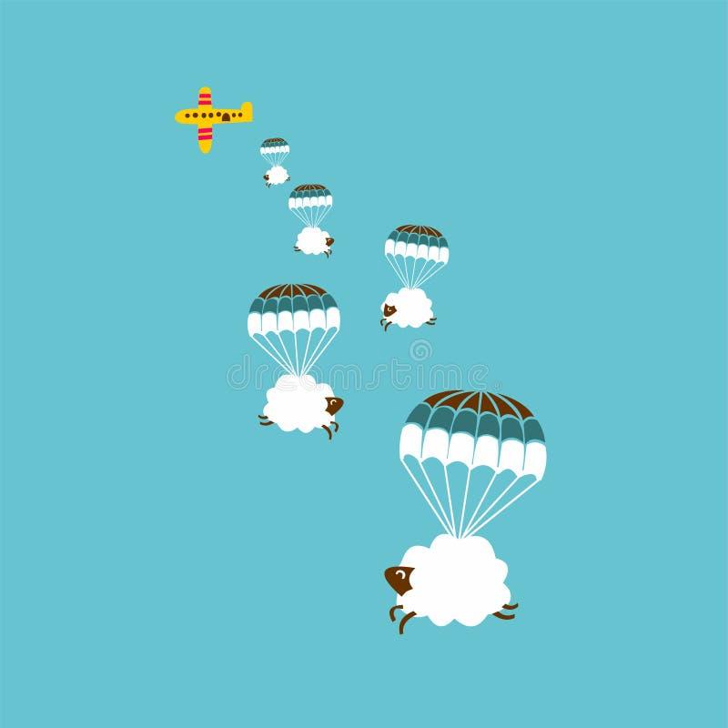 Ovejas con el paracaídas stock de ilustración