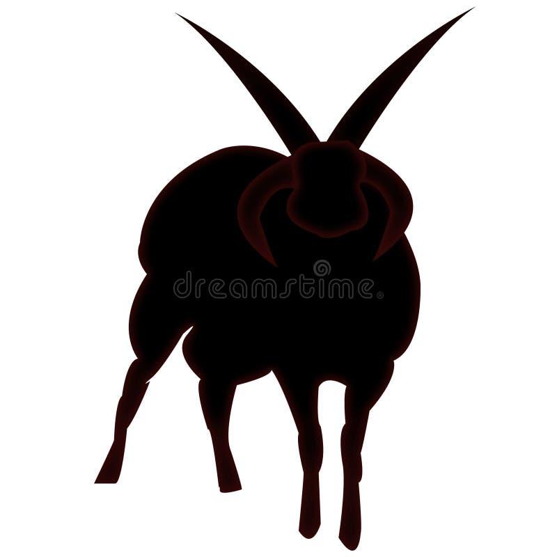 Ovejas de cuernos satánicas ilustración del vector